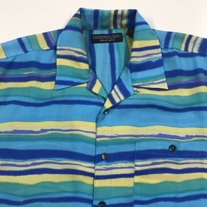 COMMON MAN Aqua Blue Casual Shirt Mens Medium